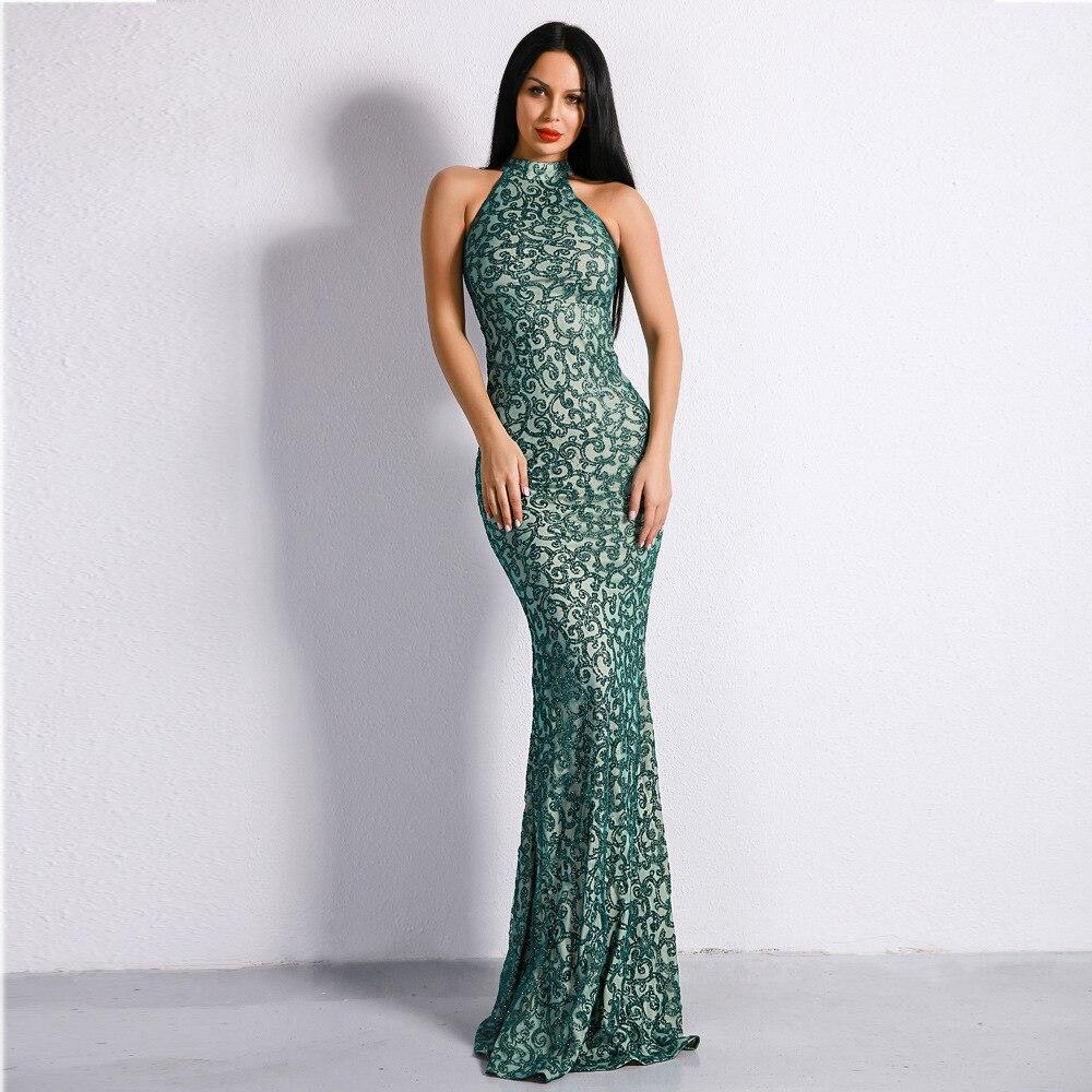 d312ce5c82 Bodycon Lentejuelas Vestido Elegante De Largo Vintage Noche Vestidos Halter  Fiesta Verde Superior Moda Calidad Sexy 7yb6gvYfI