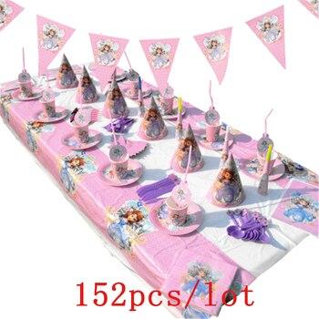 e3ce86339 Disney Princesa Sofía diseño 152 unids/lote Rosa tazas + placas decoración  de la fiesta de cumpleaños lindo vajilla para la familia de partido