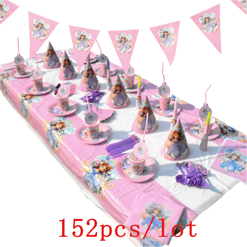 Princess Sofia Theme Design 152Pcs/Lot Pink Cups+Plates Birthday Party Decoration Cute Tableware For Family Party Supply