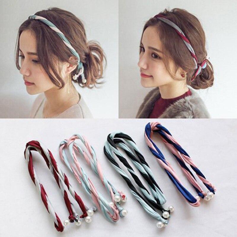 a variety of color cloth art hairband combination wash hair hoop Pearl Korean   headwear   wholesale