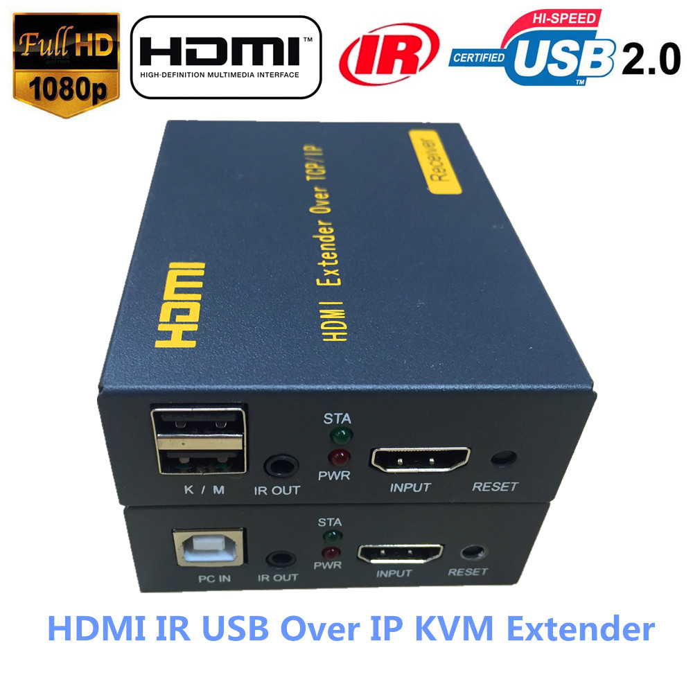 Super Quality 500ft HDMI KVM IR Extender Over TCP IP 1080P USB Keyboard Mouse KVM Extender 120m Via Ethernet RJ45 Cat5e/6 Cable 2017 new usb 2 0 hdmi 2 0 kvm extender sender reveiver over cat5e 6 6e cable support audio microphone 4k 2k ckl 100hu2