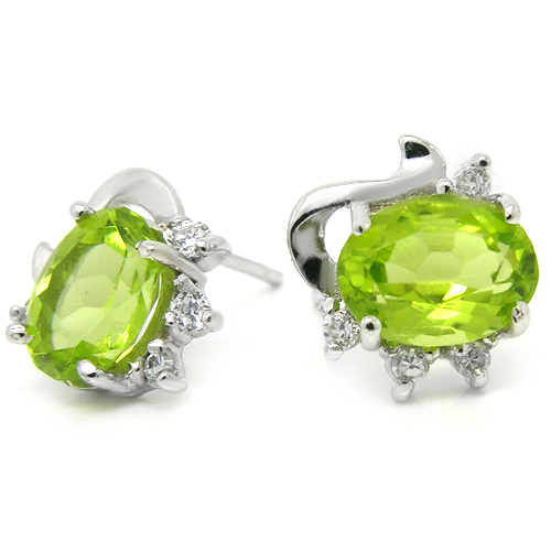 Natural 2.8 Carat Peridot Stud Earring 925 Sterling Silver Green Woman Fashion Fine Elegant Jewelry Queen Birthstone Gift 0046P natural green peridot ring 925 sterling silver crystal rose gold plated woman fashion fine elegant jewelry queen birthstone gift