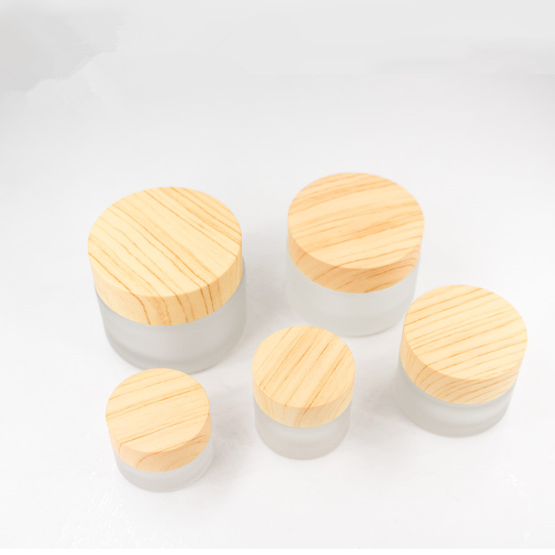 5g 10g 15g 30g 50g Frosted Glass Cream Jar with Wood Lid Makeup Skin Care Lotion