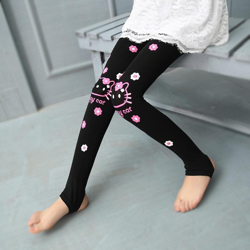Весенне-осенние леггинсы для девочек; обтягивающие черные хлопковые эластичные штаны; леггинсы для девочек с рисунком кота, банта, цветов, кота; детские штаны - Цвет: FLKT