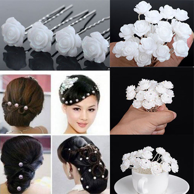 20pcsset Wedding Bridal Hair Accessories Shiny White Flower Hair