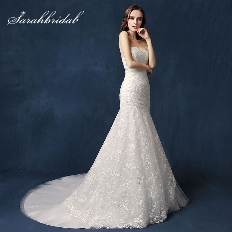 New Arrival White/Ivory Sheath Wedding Dresses 2018 Lace