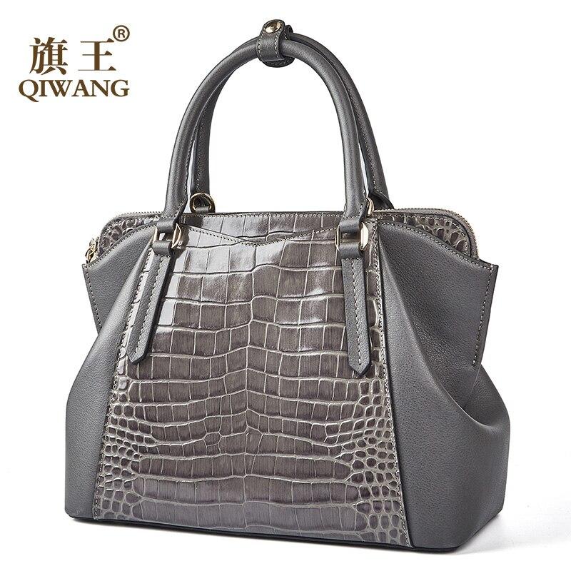 Qiwang กระเป๋าถือกระเป๋าถือผู้หญิงที่มีชื่อเสียง 100% ของแท้วัวหนังผู้หญิง 2019 Vintage Vintage กระเป๋าถือหญิงไหล่กระเป๋า-ใน กระเป๋าหูหิ้วด้านบน จาก สัมภาระและกระเป๋า บน   1