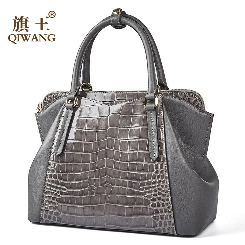 Bagaj ve Çantalar'ten Üstten Saplı Çanta'de Qiwang Tote çanta kadınlar için ünlü 100% hakiki inek deri bayan el çantası 2019 Vintage gri çanta kadın omuz çantaları'da  Grup 1