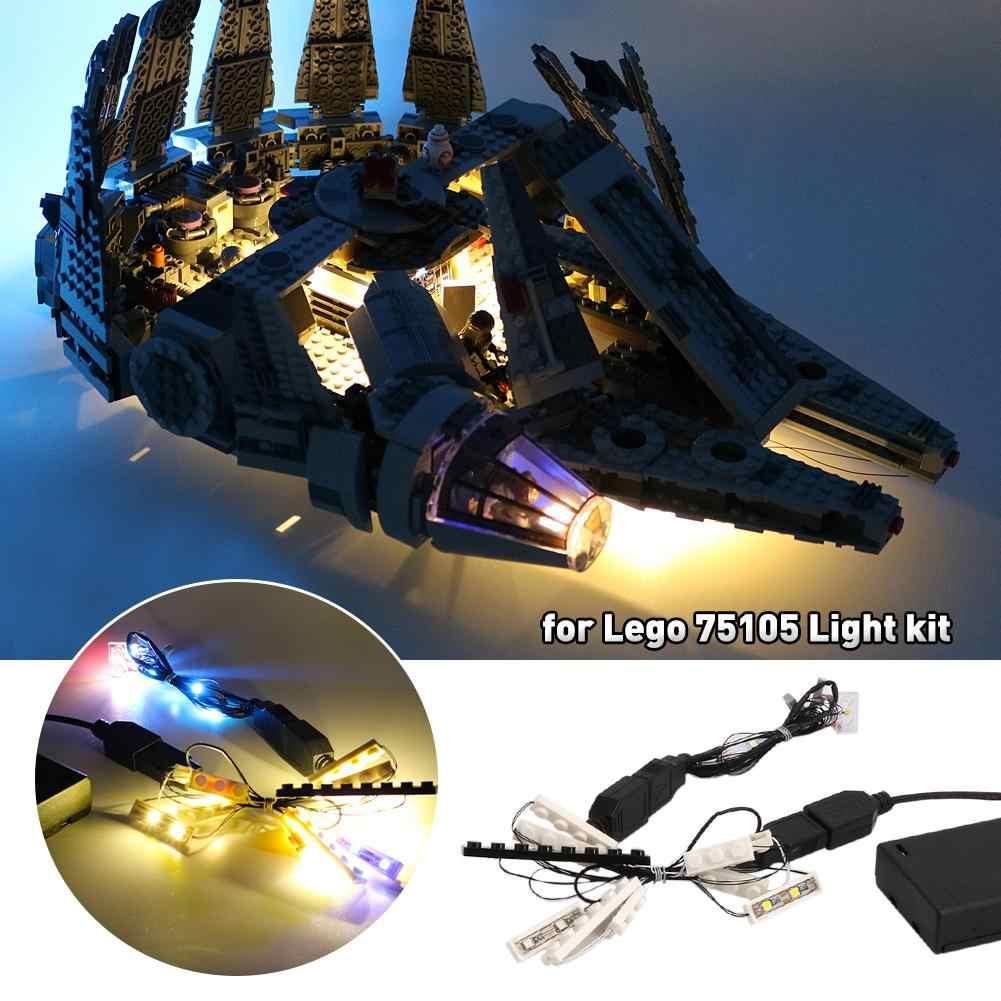 Zestaw światła dla (Star Wars Millennium Falcon) klocki Model-zestaw oświetlenia LED kompatybilne z Lego 75105 klocki części