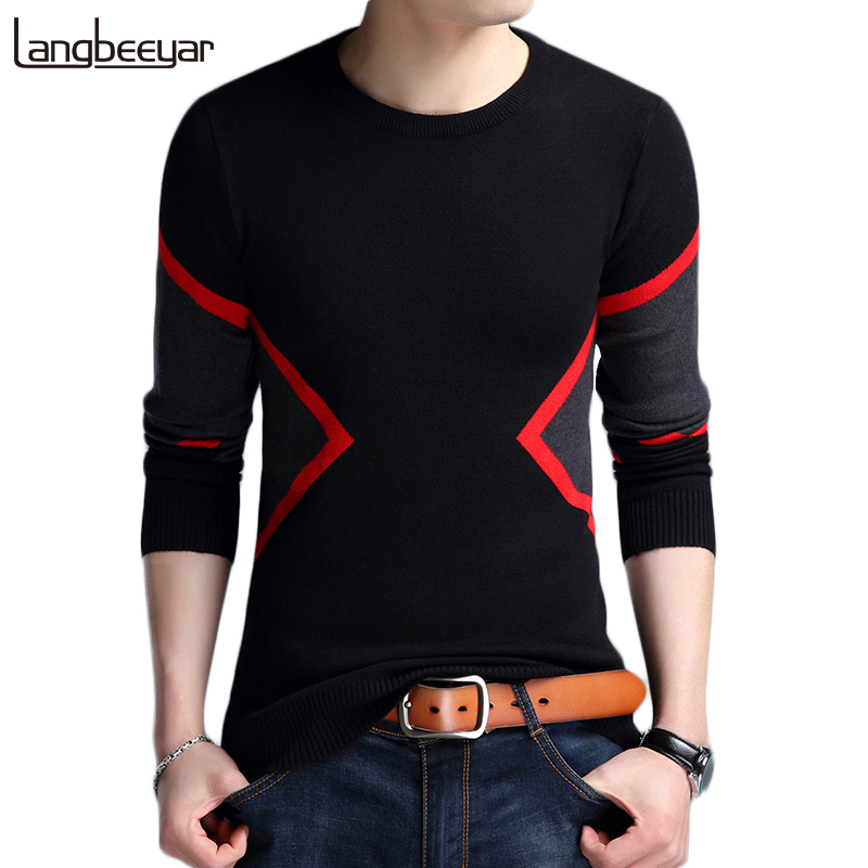 2020 New Autumn Winter Fashion Brand Clothing Men's Sweaters Breathable Slim Fit Men Pullover Contrast Color Knitted Sweater Men