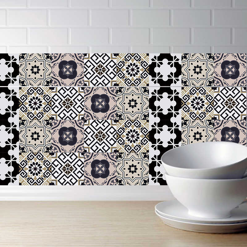 3D Arabian Style Retro Tile Floor Sticker Kitchen Bathroom Waist Line Wall Stickers Self Adhesive Vinyl Waterproof Poster Home D
