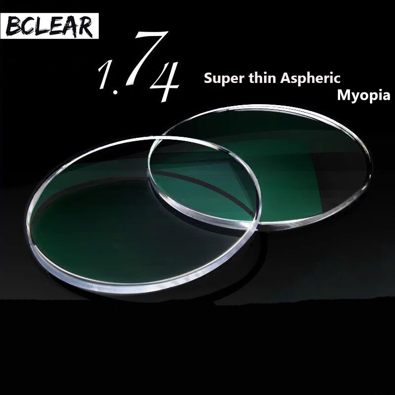 BCLEAR 1.74 Indeks Ultra Tinggi Super Tipis kanta preskripsi optik asin untuk kacamata Myopia Diopter Nearsighted Shortsighted