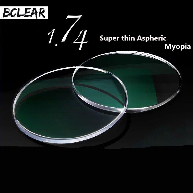 Lentilles de Prescription optiques asphériques Super minces à indice Ultra élevé BCLEAR 1.74 pour lunettes de myopie dioptrie myopie myope myope