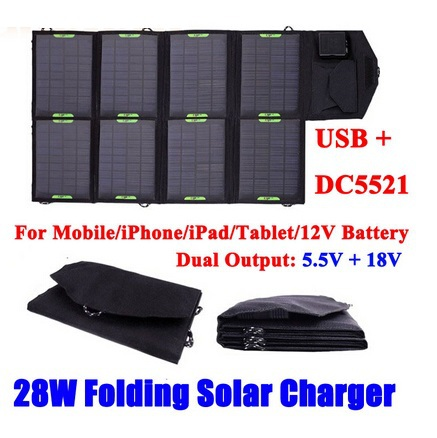 New 28W18V /5V Folding Solar Charger Solar Mobile Charger For iPhone Solar 12V Battery Charger DC&USB Dual Output Free Shipping