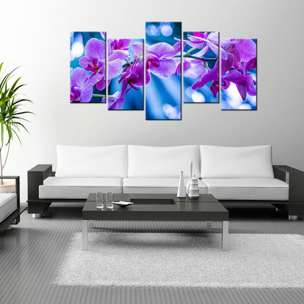 5 Piece Wall Art Orchid Flowers Canvas Contemporary Home Decor Giclee Artwork HD Poster Modern Landscape Painting Decorations