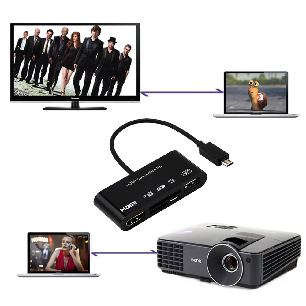Image 2 - 5 in 1 Micro 11p 11 Pin Micro USB to HDMI Converter Cable Connection Kit OTG SD TF M2 Host HDTV AV HUB Adapter Card Reader 2.0