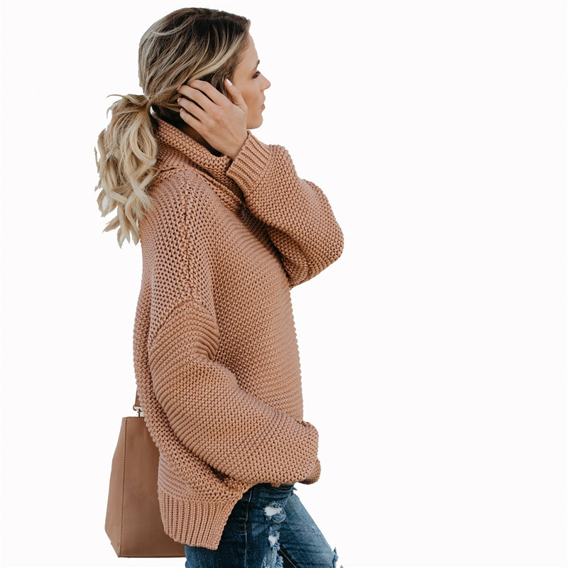 20ac4d0002a8e3 Women Casual warm autumn winter sweater women jumper Cold shoulder knitting  pullover Hollow out high neck sweater female