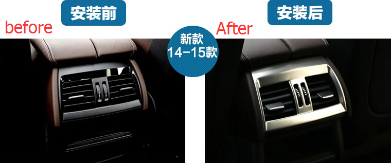 Interior Moldings ! Stainless Steel Rear Set Air Conditioning Vent Outlet Cover Trim 1 Pcs For BMW X5 F15 2014 2015 2016 for bmw x5 f15 2014 2016 x6 f16 2015 2016 2017 stainless steel central console air conditioning ac outlet vent cover trim
