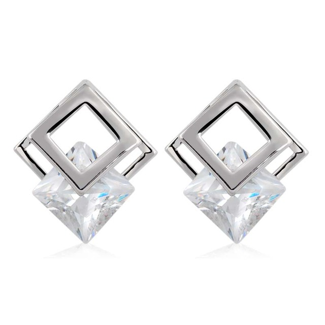New Arrival Big Brands Double Square Shape Earrings Jewelry Fashion Cubic  Zirconia White Gold Plated Stud Earrings For Women 82e6aac7c1a0