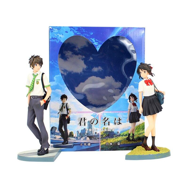2 pçs/lote 22-23 CENTÍMETROS anime Japonês figura Tachibana kimino na wa Miyamizu Mitsuha seu nome Taki ação pvc figura modelo brinquedos
