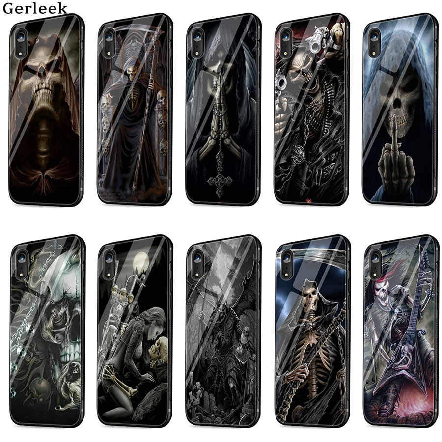 Tempered Glass Case Grim Reaper Skull Skeleton Cover For iPhone 6 6s 7 8 X XS XR Max 5 5s SE Shell