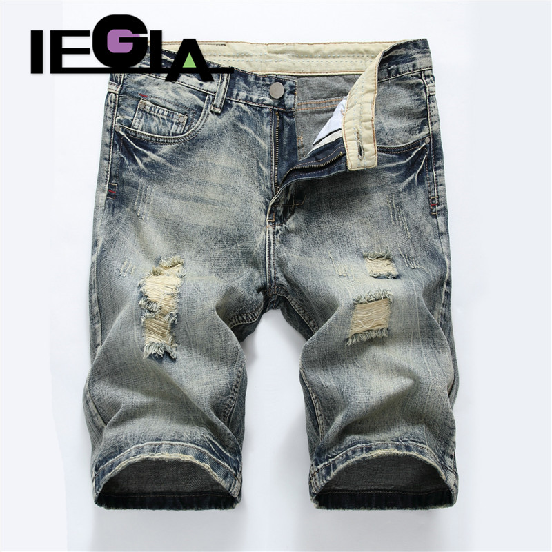Jeans Man Summer Shorts Fashion Casual Trousers Stretch Mens Short Denim Jean  Ripped Jeans for Men Streetwear
