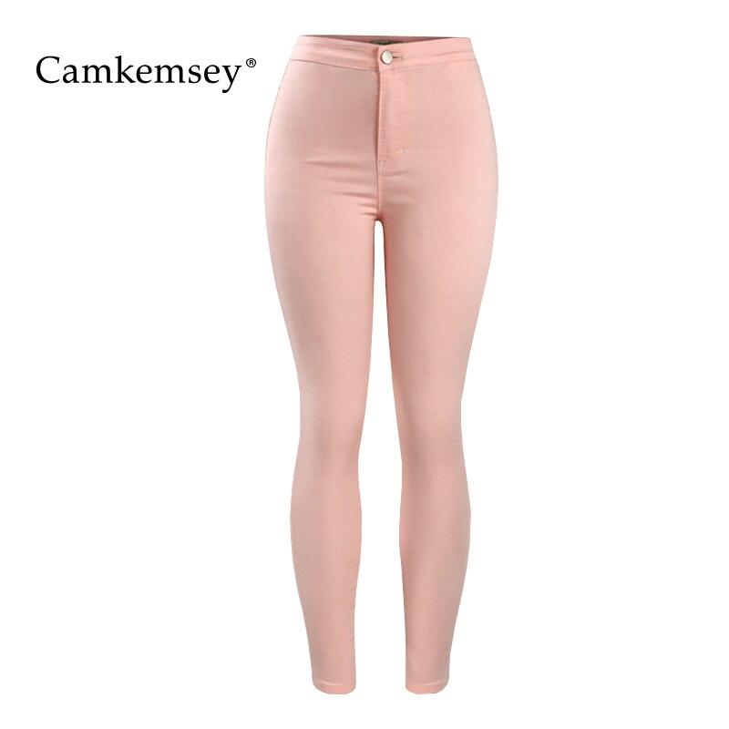 CamKemsey Fashion Pink Denim   Jeans   Woman Casual High Waist Stretch Skinny   Jeans   Female Slim Bodycon Pants Capris Trousers