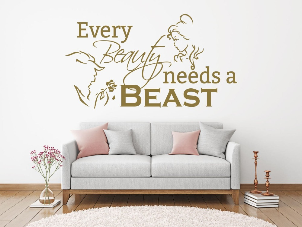 Romantic living room bedroom decoration beauty and beast wall vinyl sticker every beauty needs beast quote wall art decal 2WS37 in Wall Stickers from Home Garden
