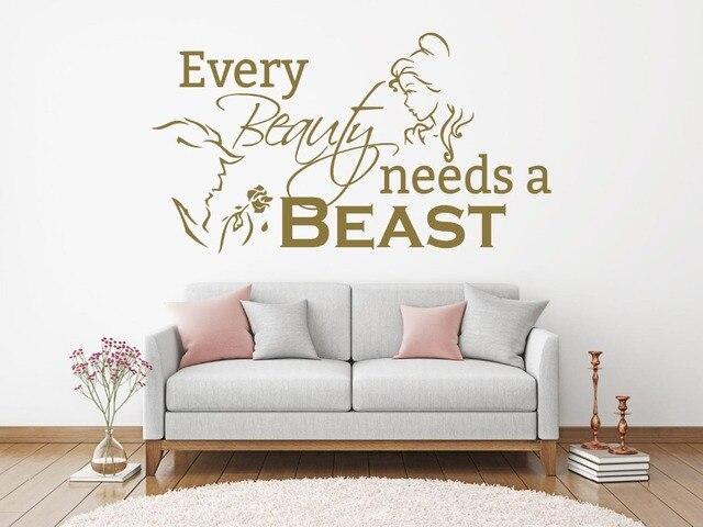Romantische woonkamer slaapkamer decoratie schoonheid en beest muur vinyl sticker elke beauty behoeften beest quote wall art decal 2WS37
