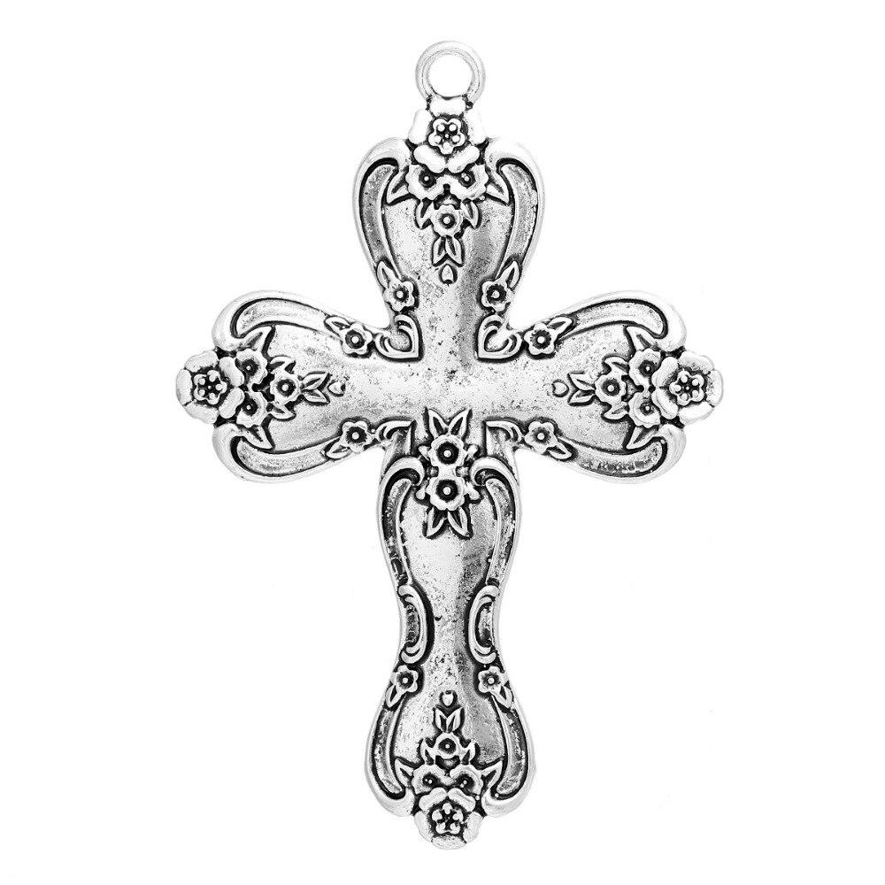 DoreenBeads Zinc Based Alloy Antique Silver Easter Pendants Cross Pattern DIY Jewelry Components 79mm x 54mm(2 1/8), 3 PCs