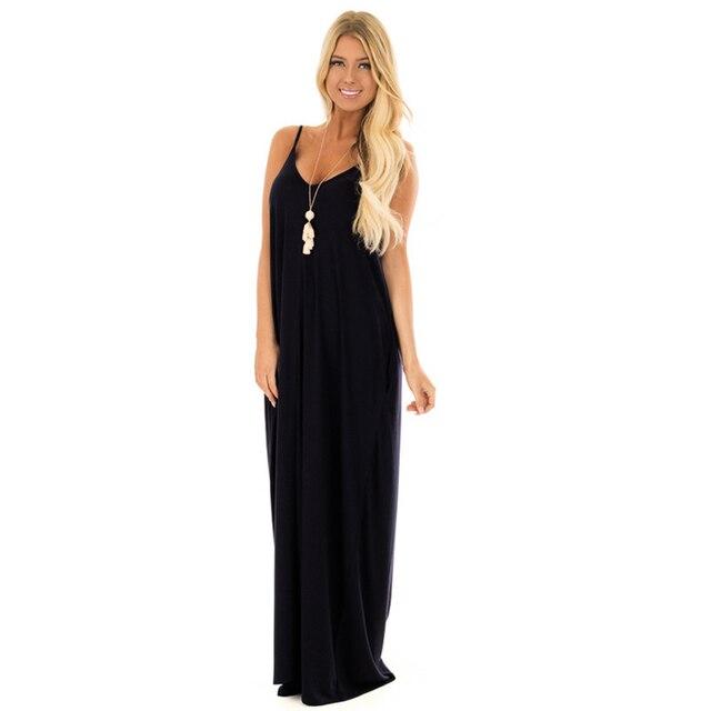 5XL Big Size Women Summer Maxi Dress Casual Spaghetti Strap Sleeveless Boho  Dresses Black Beach Party Dress Plus Size 0880e29b23ed