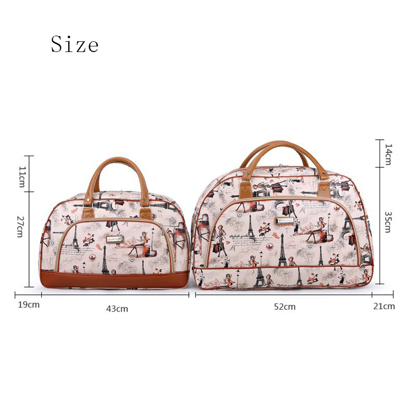 Women Travel Bags PU Leather Large Capacity Waterproof Print Luggage Duffle Bags Casual Portable Travel Bag