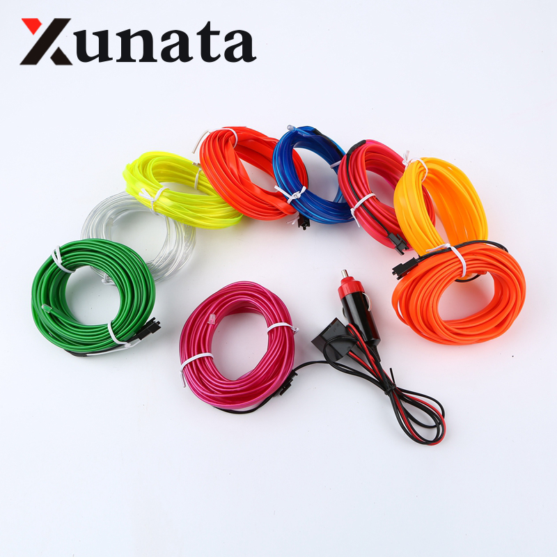 1m/3m/5m Sewable EL Wire Tron Glow Wire Easy Sew Tag flexible led ...