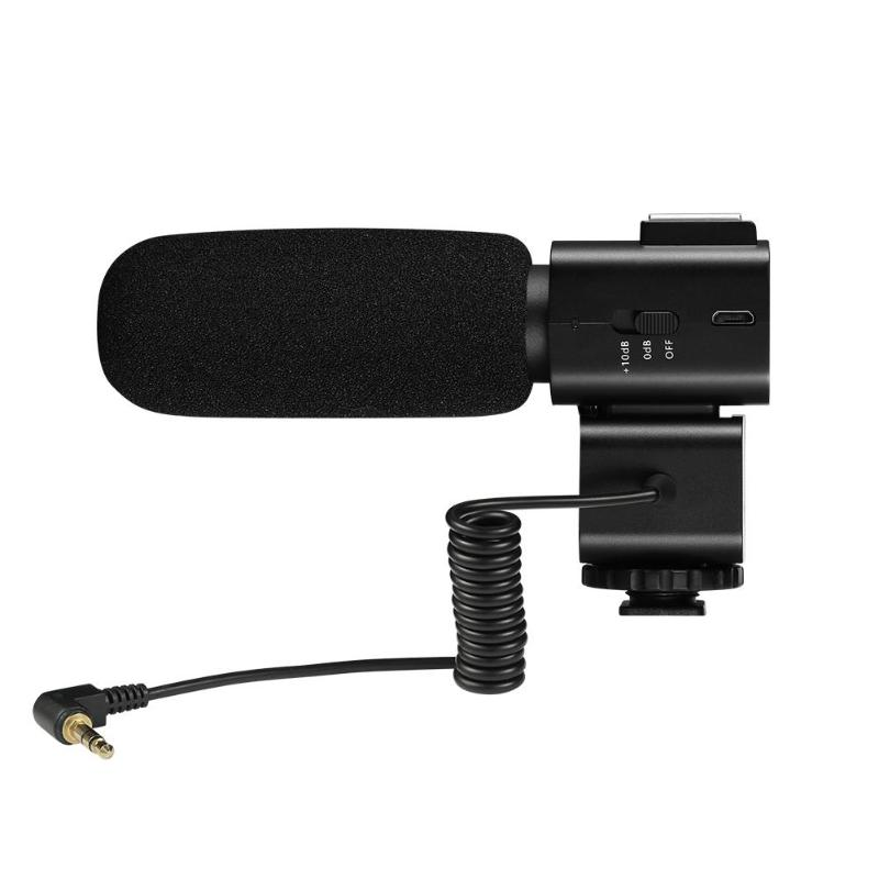 CM 520 External Microphone Condenser Mic Microphone w Hot Shoe Mount for Canon Nikon Sony DSLR