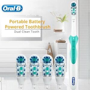 Image 4 - אוראלי B צלב פעולה כוח מברשת שיניים כפולה נקי אוראלי היגיינה AA סוללה 4 Pcs החלפת מברשת ראשי משלוח