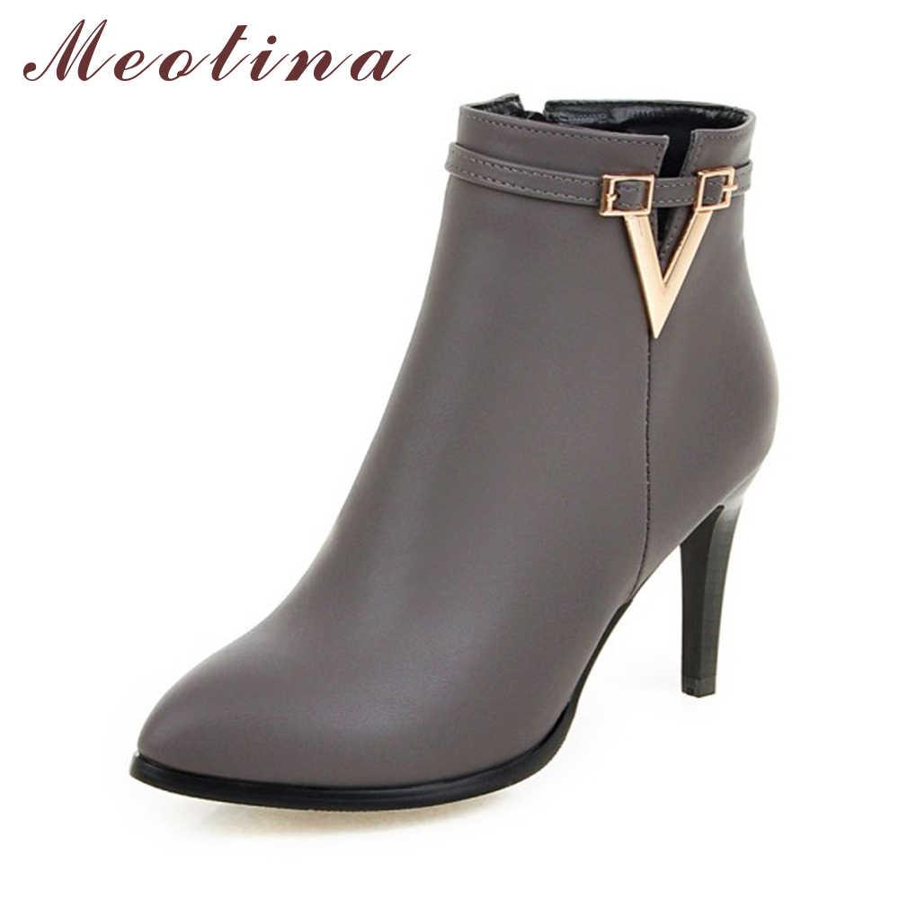 Meotina Kadın Ayakkabı Yüksek Topuk yarım çizmeler kısa çizmeler Zip Güz Bahar Sivri Burun Yüksek Topuklu Bayan Ayakkabı Gri Büyük Boy 10 40 43