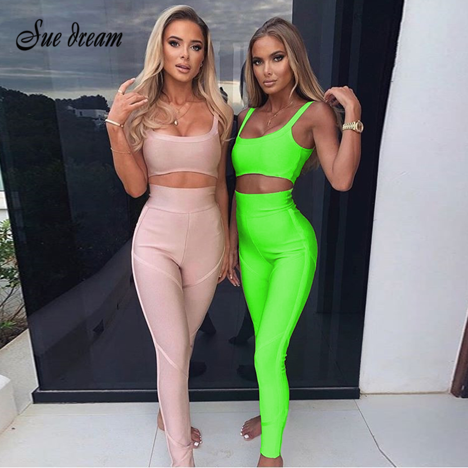 2019 New Women's Fluorescent Green 2 Piece Two-piece Ladies Fitness Tight High Waist Two Pieces With Sportswear Sexy Jumpsuit