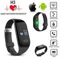New H3 Smart Band Bracelet & Heart Rate Monitor Activity Fitness Tracker Wristband for IOS & Android Smartphone PK JW018 Mi Band
