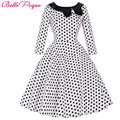 50s Polka Dot Vintage Robe Ete Bow Black Peas Plus Size Sleeve Womens Summer Dresses 2017 Summer Casual Dress Vestidos Femininos