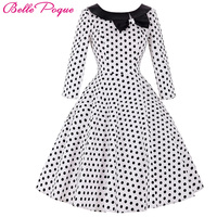 Belle Poque 50s Polka Dot Vintage Robe Ete Women Black Peas Dress Sleeve Womens Summer Dresses 2017 Summer Casual Party Dresses