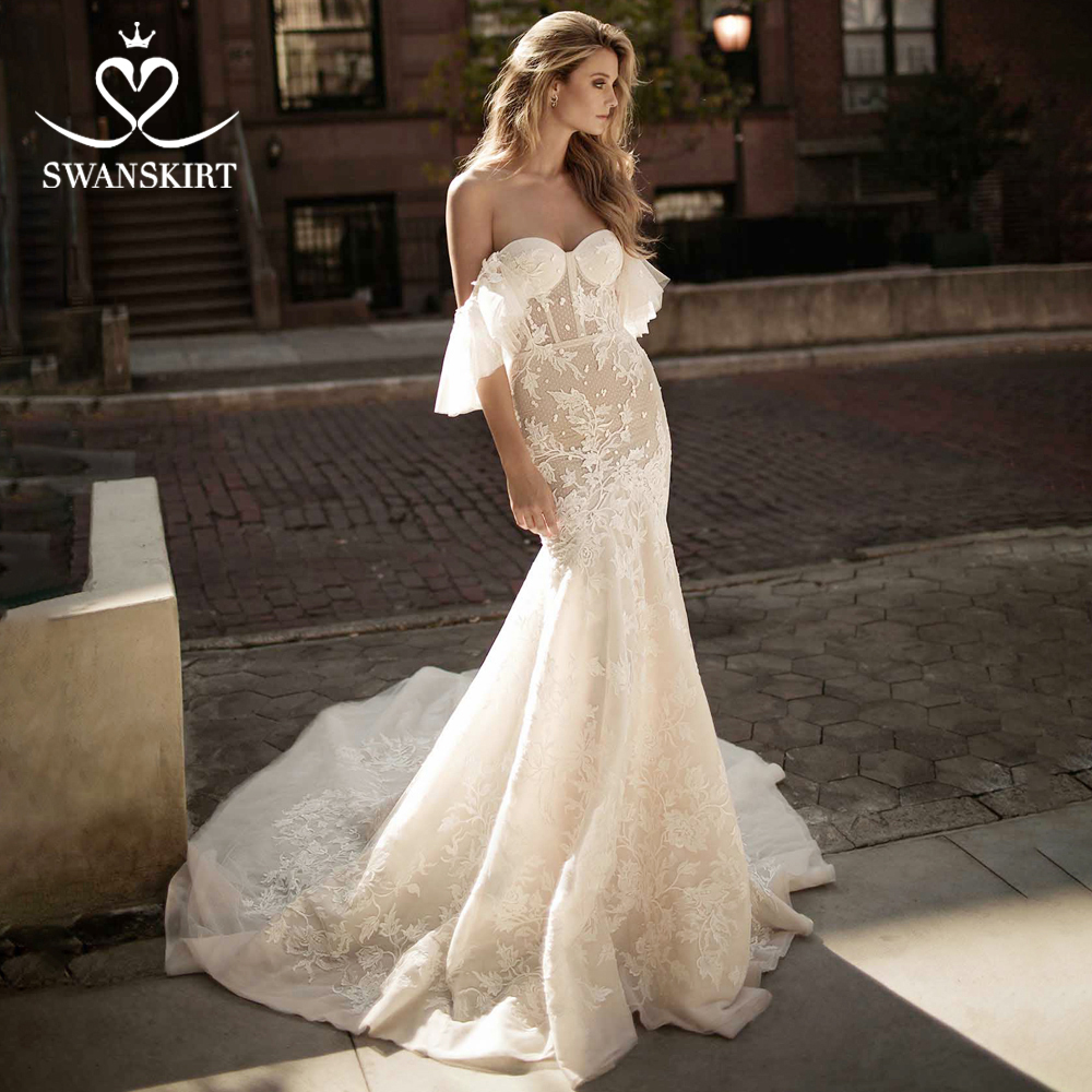 Swanskirt Stunning Strapless Mermaid Wedding Dress2019 Sexy Appliques Flare Sleeve Princess Bride Gown Robe De Mariage EZ02