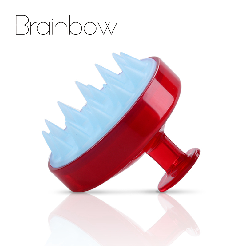 Brainbow 1 piece Shampoo Comb Silicone Teeth Hair Scalp Soft Massage Brush Hair Washing Comb Body Bath Massager Beauty Spa Tools fashion new style shampoo washing hair massage brush massager comb scalp shower body random color drop shopping