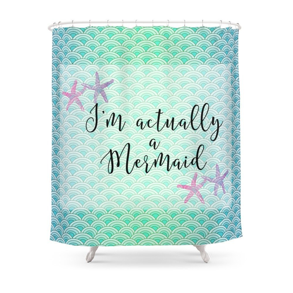 Im Actually A Mermaid - Mermaid Scales Shower Curtain Set Waterproof Polyester Fabric For Bathroom With Floor Mat