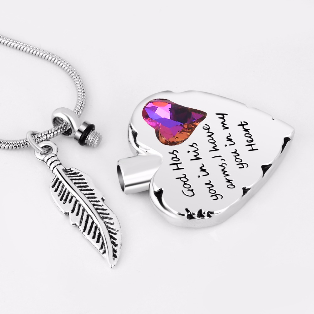 God Has You in His Arms Cremation Heart Necklace