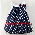 Azul marino puntos blancos y cute baby dress del bowknot sin mangas de vestidos de niña de bebé al por menor al por mayor del verano de los bebés ropa