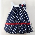 Navy Blue and White Dots Cute Baby Dress Bowknot Sleeveless Baby girl Dresses Retail Wholesale Summer Baby Girls Clothes