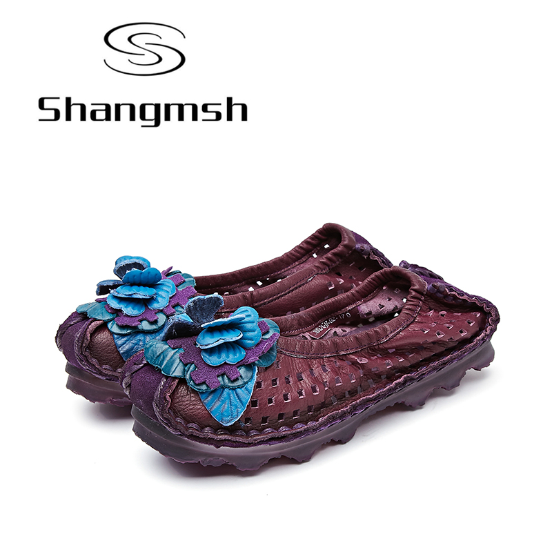 Shangmsh Moccasins For Women 2017 New Arrival Genuine Leather Soft Comfortable Women's Flat Shoes Female Slip On Casual Loafers fashion brand genuine leather shoes for women casual mother loafers soft and comfortable oxfords lace up non slip flat moccasins