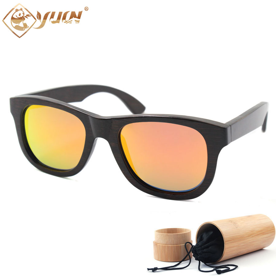New hot black bamboo sunglasses font b handmade b font polarized driving font b sun b