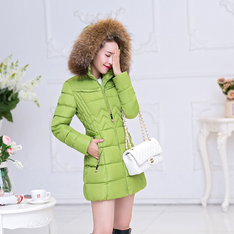 1PC 2016 Winter Jacket Women Cotton Padded Coats Fur Collar Thickening Parkas For Women Winter Coat Jackets Y0725-80E