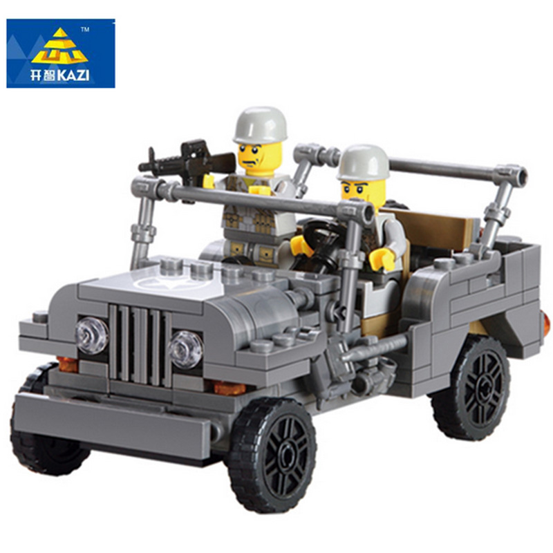 KAZI 82007 199PCS Playmobile Century Military US Willys MB Jeep Airborne Force Building Blocks WW2 Classic Military Vehicle gift